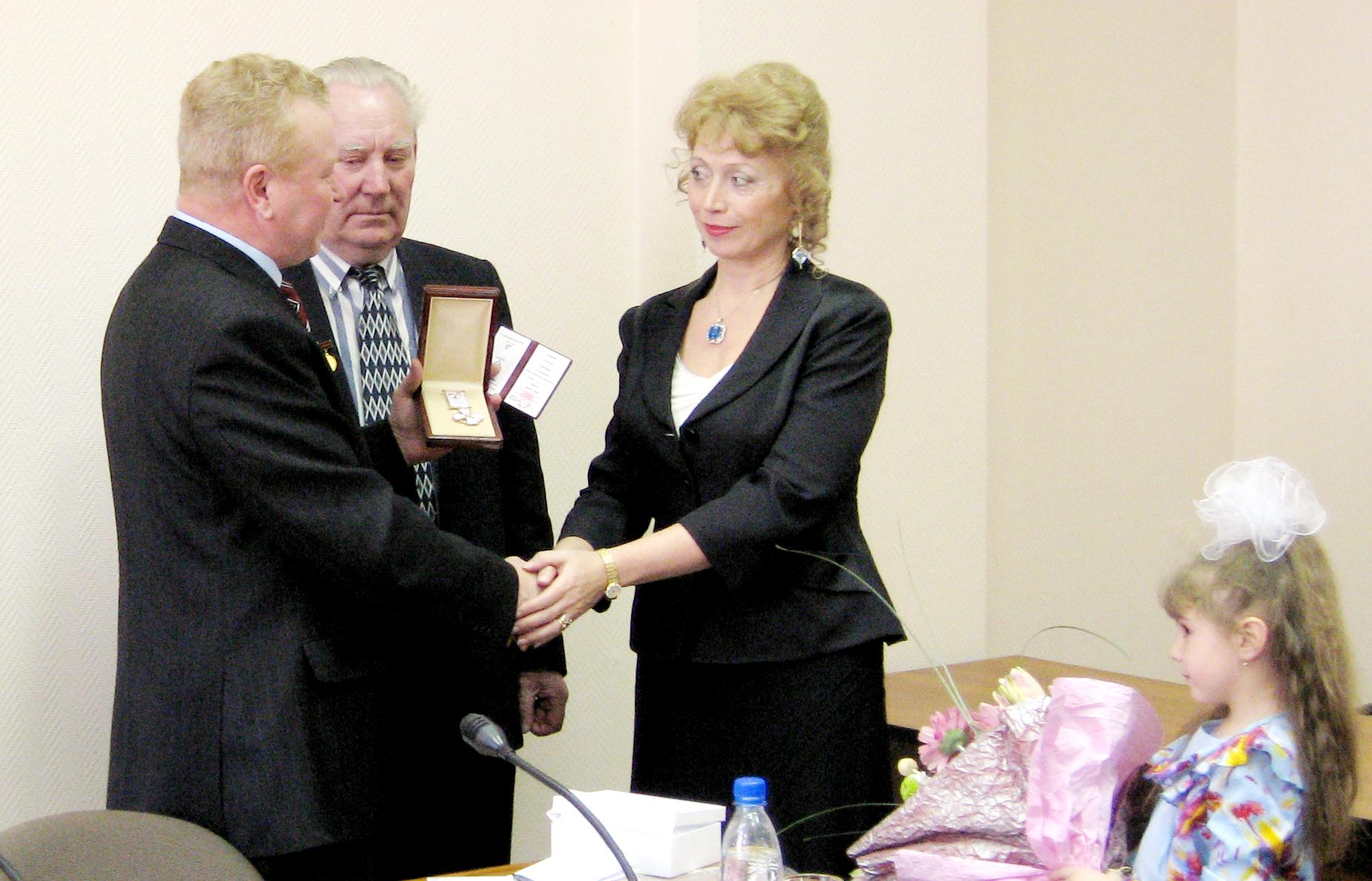 Баранова С.В., вручение ордена за профессиональную честь, достоинство и почётную деловую репутацию